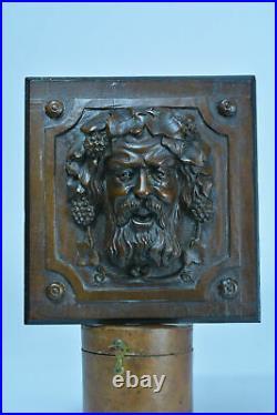 Ancien Panneau en bois Sculpté Portrait Bacchus Vin parement sculpture 19 ème