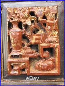 Ancien Panneau sculpté en Bois de Chine