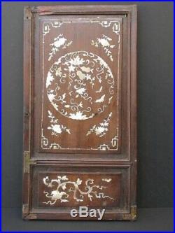 Ancien Panneau sculpté en Bois de Chine, Incrustations nacre