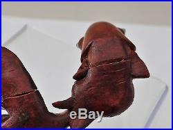 Ancien Poisson Carpe Koi Japonnais Sculpte Main Yeux En Sulfure Fin 19eme C524