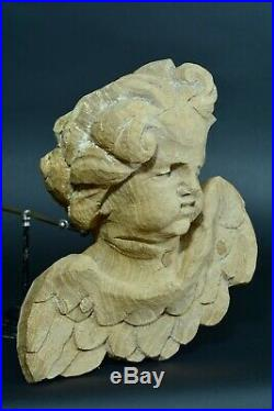 Ancien Putti Tête d'ange Grimaçant Ailé Bois sculpté Baroque17e Déco Carved wood