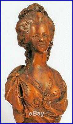 Ancien Reine de France Marie Antoinette Sculpté à la Main Bois Buste Sculpture