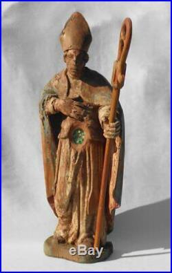 Ancien Reliquaire Du XVIIIe Siècle, Saint Personnage, Eveque, bois sculpte