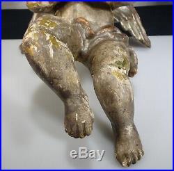 Ancien Sculpté Bois Ange Gesso Tenture Murale 13.5 57223
