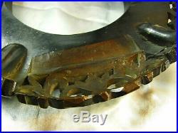 Ancien Socle Bois De Fer Zitan Sculpte Support De Vase Asiatique Chine Chinese