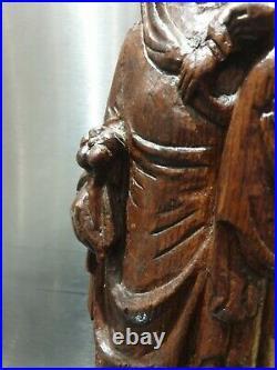 Ancien Statue, Vierge A L'enfant, Bois Naturel, Xviiieme, Bois Sculpté, Religieux
