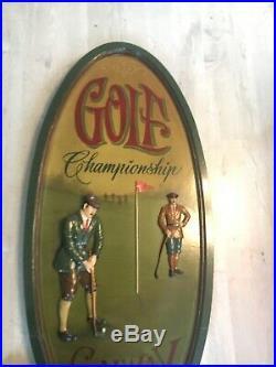 Ancien Tableau Country Corner Ovale Golf Championship Bois Sculpté Vintage
