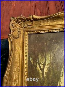 Ancien Tableau Francois Bucher La Cage Cadre Bois Dore Sculpte