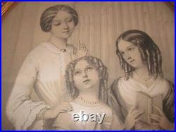 Ancien Tableau Ovale Bois Sculpte Lithographie Signee Sous Verre 19eme