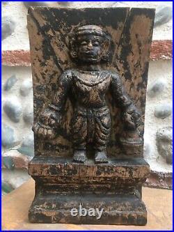 Ancien Très Belle Patine Sculpture Bois Sculpté Bas Relief Temple Asie Inde