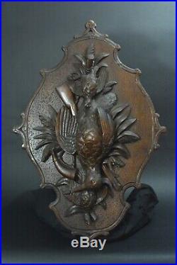 Ancien Trophée de Chasse en bois sculpté Gibier Bécasse Perdrix Fusil 19 ème
