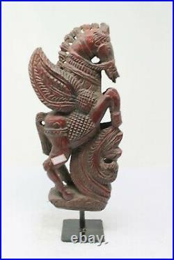 Ancien Vintage en Bois Support Cheval Crafted sur Sculpté Décoratif NH5692