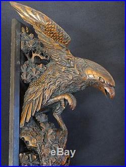 Ancien aigle forêt noire bois sculpté 40cm eagle black forest wooden carved XIX