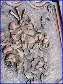 Ancien berceau bois sculpte angelot fleurs art populaire