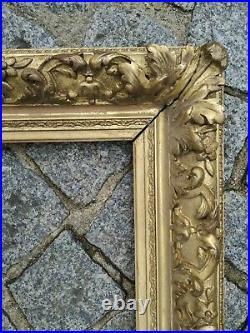 Ancien cadre baroque rococo doré feuillure 36 cm x 28 cm frame gravure tableau