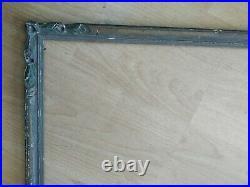 Ancien cadre bois sculpté polychome feuillure 66 cm x 48 frame tableau peinture