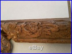 Ancien cadre en bois naturel sculpté époque XVIII ème s, grand modèle
