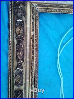 Ancien cadre en bois sculpté et stuc 19e siècle pour tableau