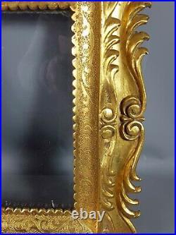 Ancien cadre italien bois sculpté doré feuille d'or 32x28cm Très bel état