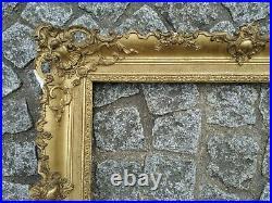 Ancien cadre louis XIV bois stuc feuillure 57 cm x 41 old frame gravure tableau