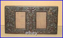 Ancien cadre photo en bois sculpté décor asiatique Chine Indochine 19e siècle