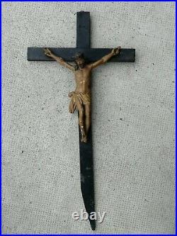 Ancien crucifix bois sculpté antique cross carved wood