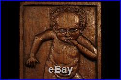 Ancien curieux bas relief bois sculpté XIXeme / Cabinet Curiosités Art Populaire
