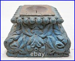 Ancien en Bois Colonne Base Original Ancien Fin Main Sculpté Bougeoir