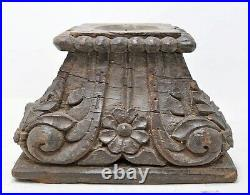 Ancien en Bois Colonne Base Original Ancien Fin Main Sculpté Porte-Bougies