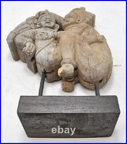 Ancien en Bois Érotique Homme Femme Figurine Original Ancien Fin Main Sculpté