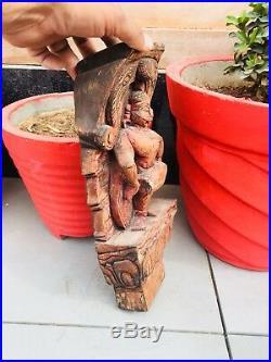Ancien en Bois Sculpté Sud Inde Tamil Nadu Dieu Hindou Chariot Figurine Panneau