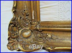 Ancien encadrement sculpté doré a la feuille XVIII cadre Louis XV 47 x 41,5 cm