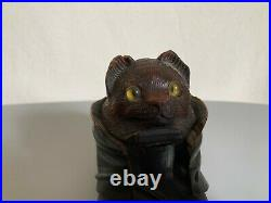 Ancien encrier bois sculpté foret noire black forest chat cat inkwell