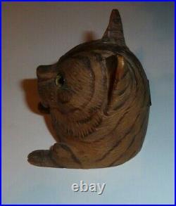 Ancien encrier sculpté bois chat cat yeux en verres foret noire Schwarzwald old