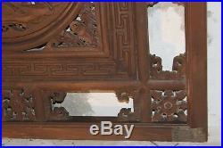 Ancien et très beau panneau chinois en bois sculpté
