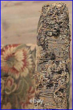Ancien fauteuil sculpté en bois noyer chaise séance meuble tissu floral 800 XIX