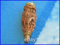 Ancien fourneau de pipe en bois sculpté objet d'art populaire du XIXème siècle