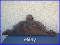 Ancien fronton bois sculpté noyer louis 15 french antique art populaire patine