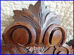 Ancien fronton sculpté en bois fin XIX ème -miroir -antique carved wood pediment