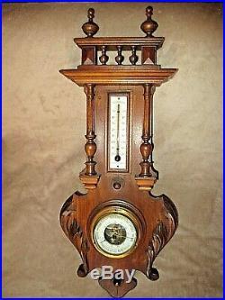 Ancien grand baromètre mural bois sculpté-thermomètre émaillé-opticien fin XIX è