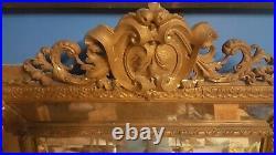 Ancien grand miroir parclose en stuc doré sculpté 19ème Glace Biseauté 143x85cm
