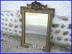 Ancien grand miroir vintage cadre en bois et platre sculpté déco bistrot 1950