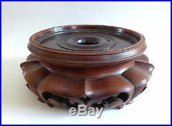 Ancien grand socle CHINOIS en bois sculpté CHINE 20ème #3
