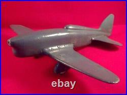 Ancien jouet avion CAUDRON RENAULT C460 bois sculpté année 30 laqué bleu pétrole