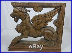 Ancien lion griffon bois sculpté wood corbel salavage french antique