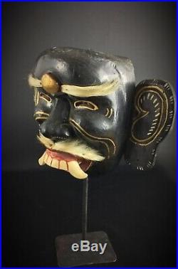 Ancien masque Topeng théâtre, sculpté sur bois et poils chèvre Ravana Indonésie