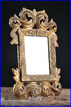Ancien miroir bois sculpté doré XVIII antique mirror venetian wood carved gilded