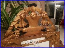 Ancien miroir de courtoisie à pareclose en bois sculpté époque Louis XVI XVIII è
