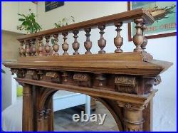 Ancien miroir de table glace mercure bois massif sculpté hêtre colonne balustre