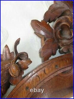 Ancien miroir en bois Noyer sculpté